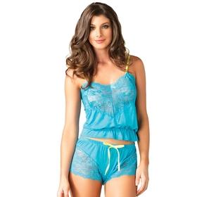 Leg Avenue Nachtwäsche-Set aus Cami und Shorts mit türkiser Spitze