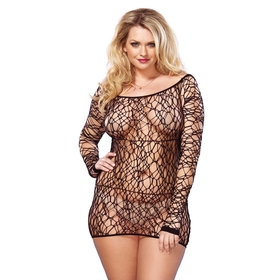 Leg Avenue Web Net Dress Plus Size Black