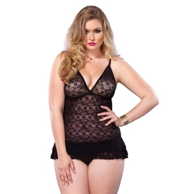 Leg Avenue Lace Dress with Ruffles Plus Size Black