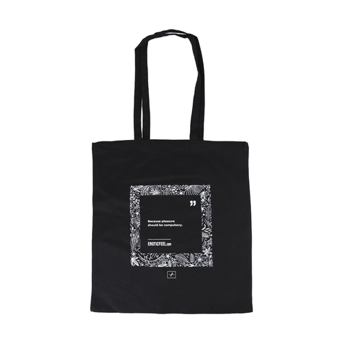 Tote Bag EroticFeel FeeltheFlowers Negro Inglés