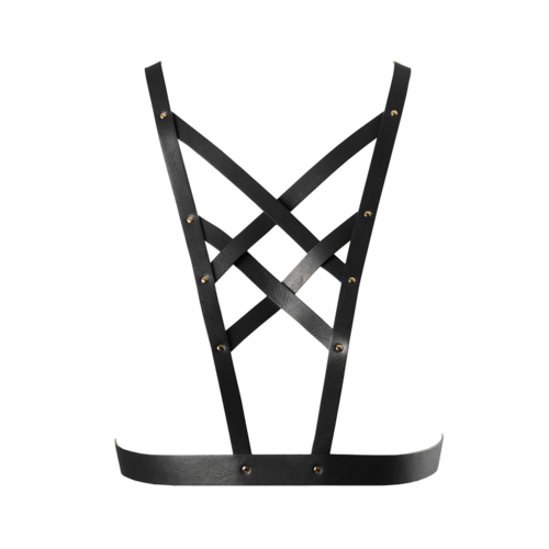 Bijoux Indiscrets Maze Cross Cleavage Harness Black