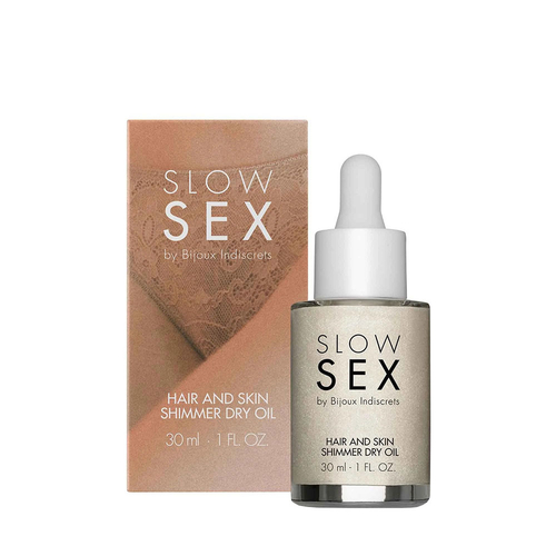Bijoux Indiscrets Slow Sex Hair and Skin Shimmer Dry Oil Óleo Seco