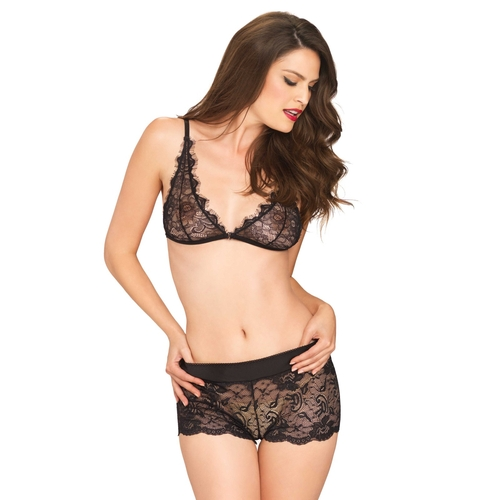 Leg Avenue Chantilly Lace Set Black